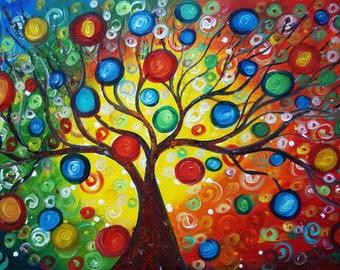 SEASONS of Joy Original Painting Large Canvas Whimsical Tree Landscape Art by Luiza Vizoli 48x24