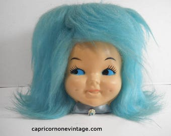 Vintage Faux Fur Doll Head Tissue Box Cover Blue Hair Vintage Kitsch Face 1960s 1970s Pixie Doll Face Box Cover Movie Prop Gag Gift Fake Fur