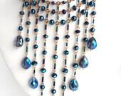 Metallic Blue Choker: Crystal and Copper Cascade