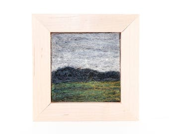 Wool Landscape Painting - Needle Felted Fiber Art Landscape - The Edge of the Field (6x6 Maple Frame)