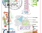 Instant download collage sheet. Quotes and sayings. digital word art.