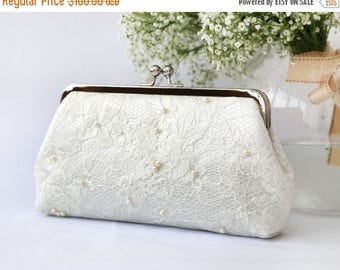 HALF PRICE SALE White Lace Bridal Clutch beaded with Freshwater Pearls and Pearl Strap (Ready to ship)