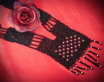 Ukrainian black Gerdan, traditional Ukraine necklace, Handmade Jewelry, Beaded Necklace, Ukrainian Jewelry, long necklace Folk Ukrainian