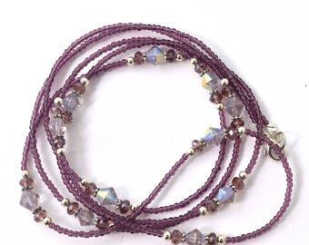 Warm Purple Seed Bead Single Strand Beaded Necklace