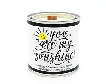 SoyBright™ Half Pint Paint Can Soy Wax Candle Gift | You Are My Sunshine Sentiment | Orange Spice | Wooden Wick | Soy Candle Tin - 8 ounces