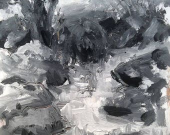 Landscape Stream painting, monochromatic black and white woodland brook acrylic expressionist painting