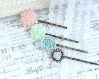 Pastel Hair Pins Flower Hair Pin Set Pink And Green Hair Pins Blue Flower Hair Pins Set Of 4 Hair Pins