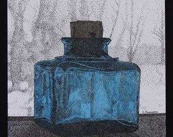 Original Stippling / Ink Drawing...'Vintage Ink Bottle'