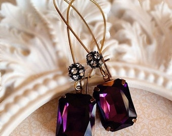SALE 20% Off Art Deco Earrings - Purple Earrings - Art Deco Jewelry - Fall - MADELINE Purple