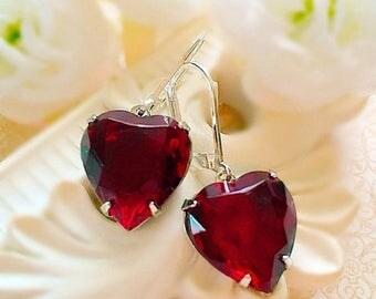 SALE 20% Off Red Heart Earrings - Victorian Earrings - Garnet Red Crystal Earrings - HEARTSONG Garnet