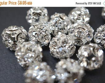 SUMMER SALE Large 12mm Silver Pave Crystal Ball Beads - 10 pcs