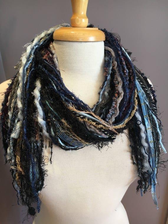 Fringe Scarf, Mountain Air Fringie,  hand-tied fringe scarf, black grey blue mauve funky scarf, bohemian, wearable art, fur, yarn scarves