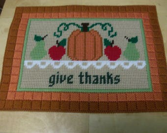 Thanksgiving Table Decor, Fall Table Place Mat, Needlepoint Fall Table Decor