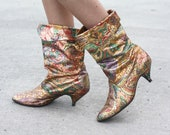 ARTPOP Vintage 1980s Rose Gold Metallic Funky Floral Artsy Slouchy Boots / Size 7.5