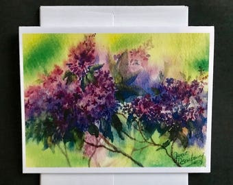 Fine Art Print Watercolor Image A Garden Of Spring Lilacs Purple & Blue Flowers, Beautiful and Colorful Bouquet by Janet Dosenberry