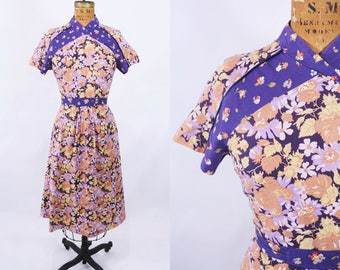 1960s floral dress | purple mixed florals print bohemian dress | vintage 60s dress | W 26""