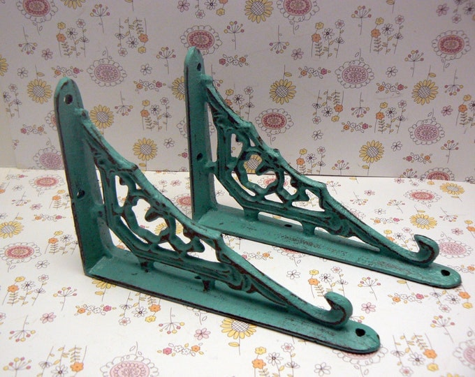 Shelf Bracket Cast Iron Ornate Brace Shabby Chic Turquoise 1 Pair DIY Home Improvement