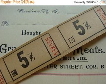 ONSALE Antique 5 cent Tickets 1 Dozen Very Old Gorgeous Sand Color