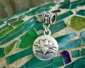 Lotus Flower silver Dangle Charm Pendant,Peace charm,Purity charm-Yoga Charm