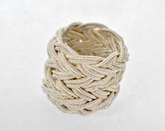 Tight Knot, Woven silver ring, Twisted silver wire, Turks Head Collection, High fashion, Starement ring, gift, dominant, Handmade in Israel