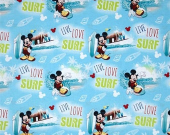 Mickey Mouse Live, Love, Surf Cotton Fabric by the yard