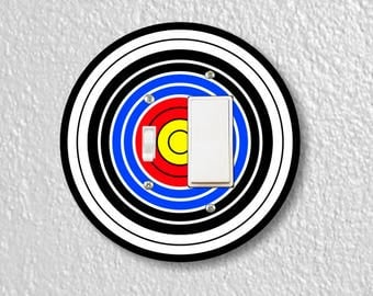 Archery Target Toggle and Decora Rocker Round Light Switch Plate Cover