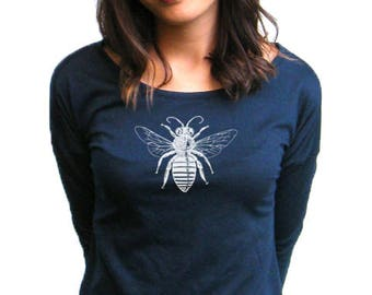 Womens Long sleeve Shirt - Bee Long Sleeve Top - Next Level French Terry Long Sleeve Scoop - S, M, L , XL, 2XL