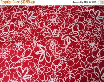 SALE Red Sketchy Floral Fabric - Studio e - Red Essentials