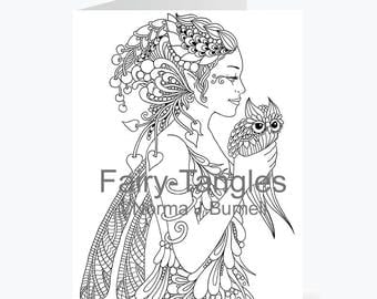 Printable Fairy Tangles Greeting Cards to Color by Norma J Burnell 5 x 7 Dragonfly fairy Owl Card for Coloring Card Making & Adult Coloring