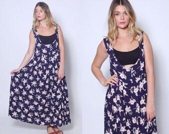 Vintage 90s FLORAL Jumper Blue Printed MAXI Dress Grunge Floral Dress Tent Dress