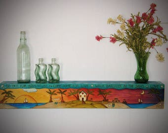 "FLOATING WALL SHELF - Wet Bar - Mantle - custom shelf - personalized shelf - hand painted shelf- custom floating shelf 60"" x 5.5""x4.25"""
