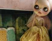 OOAK BLYTHE FAIRY Gown - Ultra Luxe Full Length Gorgeous Hand-Dyed Silk Fairy Dress - Golden Beetle