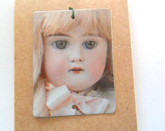 Creepy Doll Recycled Vintage 1987 Tin Pendant Finding