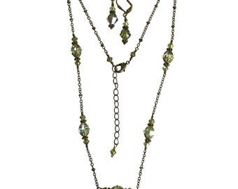 Olivine Green Vintage Boho Choker Necklace and Earring Set with Crystals from Swarovski