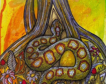 Original Snake and Tree Art by Lynnette Shelley
