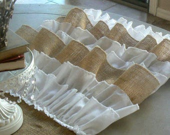Burlap Ruffled Table Runner   Shabby Chic Rustic   with burlap and white cotton ruffles