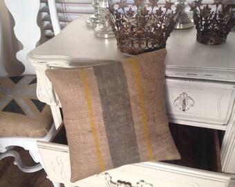 French Grainsack Burlap Pillow  with Grey and Yellow Stripes  Farmhouse/Beach Bungalow/Coastal Cottage