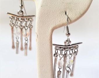 Silver tone Vintage Drop Pierced Earrings