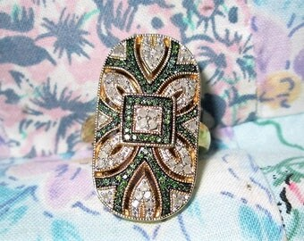 RING - EMERALDS  - Diamonds - Filigree - VERMEIL  - Estate Sale -  925 - Sterling Silver - size 8 1/4    green193