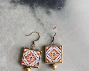 Earrings Portugal Tile Azulejos Portuguese Geometric  Aveiro and Ilhavo (see photo of actual Facades) waterproof /reversible Gift Boxed 1038