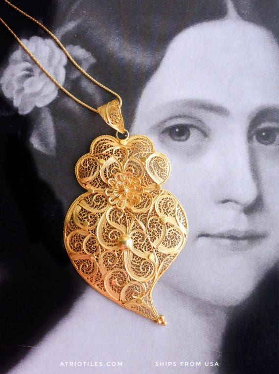 "Portugal Filigree SILVER HEART Handmade Minho Viana Pendant Necklace  - Sterling Silver in 24k Gold Bath - made in Porto - 5"" x 3"""