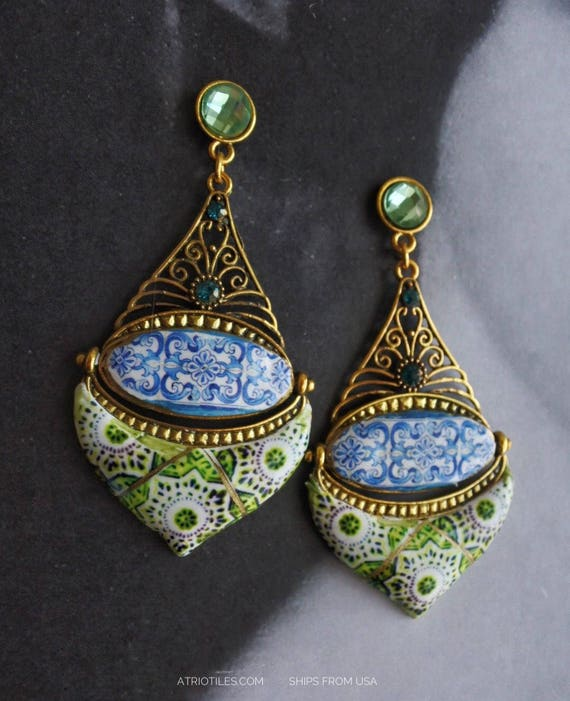 Portugal Earrings Tile Blue Green Azulejos Persian 16th Century  Ships from USA