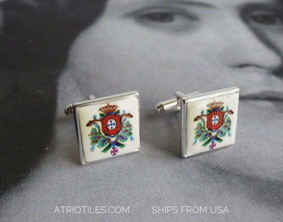 Portugal  Royal Seal or Brasao CUFFLINKS 925 Silver - Gift Box Included Gift for Him Father Pai Portuguese