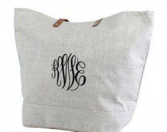 Personalized Jute Burlap Medium Tote Gray