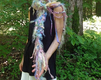 hand knit soft art yarn boa gypsy boho wool curls felted scarf - wild forest faerie beautiful garden dream scarf