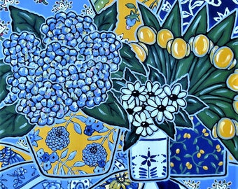 "French Country Acrylic Still Life Painting, Original art canvas, 24"" x 24"", blue and yellow,Tulips, Hydrangeas, daisies, gift idea"