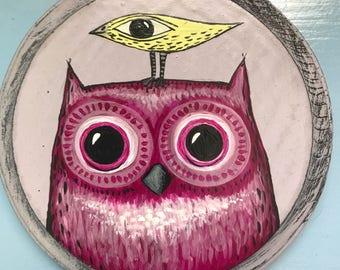 magenta owl and yellow bird folk art