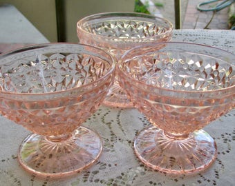 Buttons and Bows Jeannette Glass Sherbet Glasses 3 Pink Depression Glass