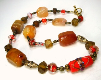 Rust Carnelian Agate, Red Glass and Silver Metal Tribal Bead Necklace, OOAK, 1980s