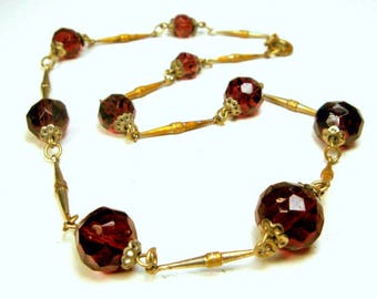 1950s Glass Bead Chain, Faceted Reddish Purple Beads w Unusual Gold n Silver Darkened Chain Link Necklace